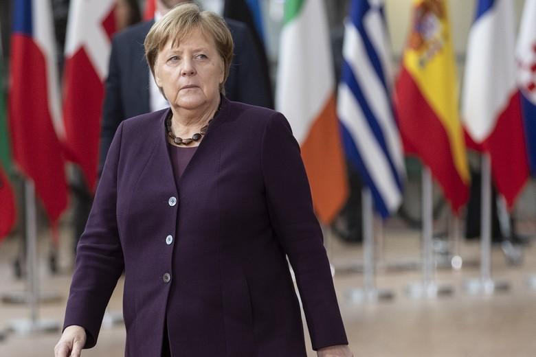 La chancelière allemande Angela Merkel lors d'un Conseil européen en février 2020