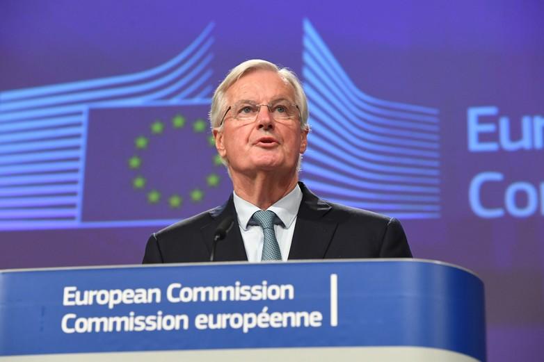 Michel Barnier, négociateur en chef du Brexit, lors d'une conférence de presse sur le nouvel accord, le 17 octobre 2019. Crédits : Mauro Bottaro / European Union 2019