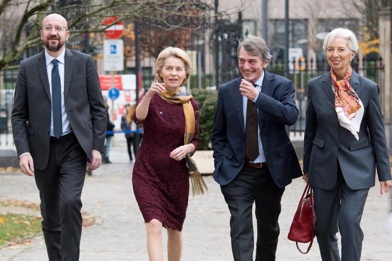 Charles Michel, Ursula von der Leyen, David Sassoli et Christine Lagarde, ici le 1er décembre à Bruxelles, dirigent désormais les quatre principales institutions européennes - Crédits : Etienne Ansotte / Commission européenne