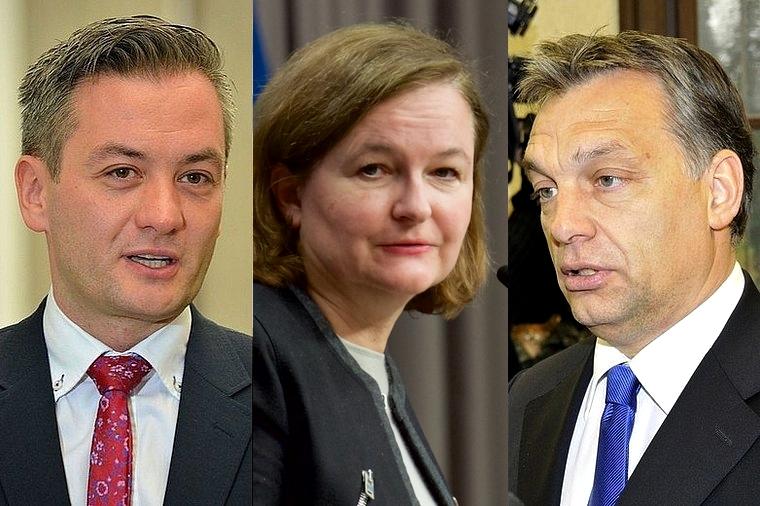 De gauche à droite : Robert Biedron, Nathalie Loiseau et Viktor Orban
