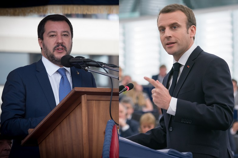 Matteo Salvini ; Emmanuel Macron - Crédits : ministère de la Défense italien ; Parlement européen