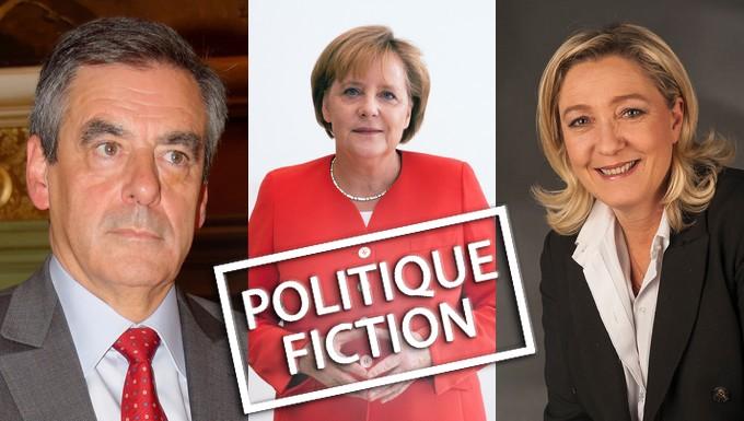 De gauche à droite : François Fillon, Angela Merkel et Marine Le Pen
