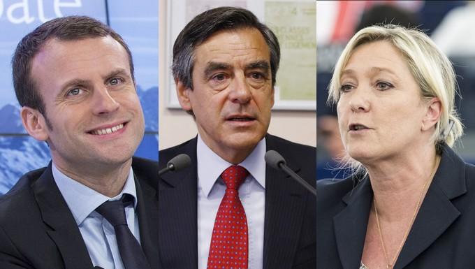 Emmanuel Macron, François Fillon et Marine Le Pen
