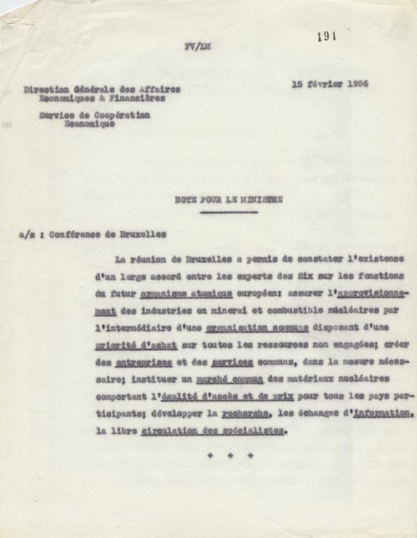 Note de la direction générale des Affaires économiques et financières sur la conférence de Bruxelles, 15 février 1956.