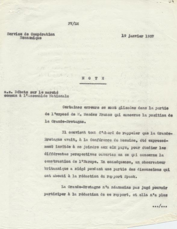 Note de la direction des Affaires économiques et financières (service de la coopération économique), relative au discours tenu par Pierre Mendès France le 18 janvier 1957 à l'Assemblée nationale sur le projet de Marché commun. Paris, 19 janvier 1957.