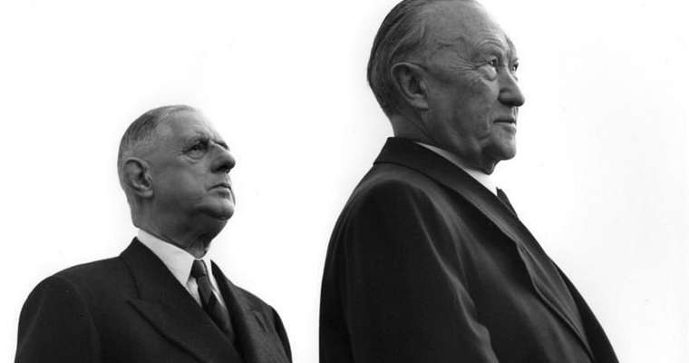 Charles de Gaulle (à gauche) et Konrad Adenauer (à droite) - Crédits : Egon Steiner / Bundesarchiv CC-BY-SA 3.0