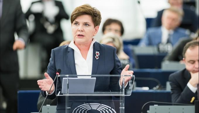 Beata Szydlo au Parlement européen en janvier 2016