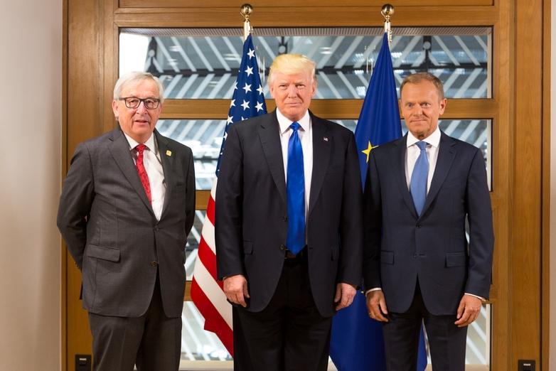 Jean-Claude Juncker, Donald Trump et Donald Tusk - Crédits : Maison blanche / Flickr