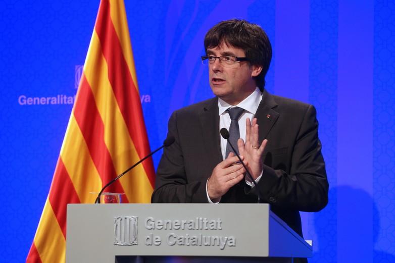 Carles Puigdemont lors de la conférence de presse du 02 octobre