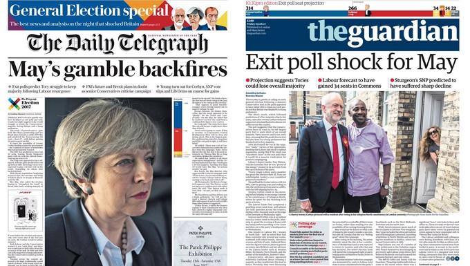 Unes du Telegraph et du Guardian sur les élections législatives britanniques du 8 juin 2017