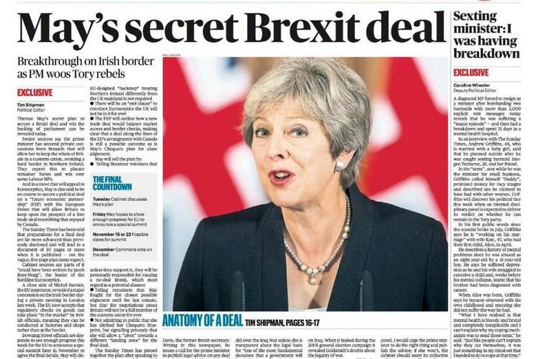 La Une du Sunday Times, dimanche 4 novembre