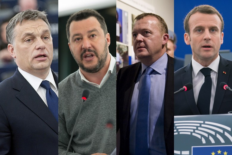 De gauche à droite : Viktor Orban, Matteo Salvini, Lars Løkke Rasmussen et Emmanuel Macron