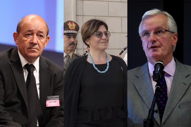 De gauche à droite : Jean-Yves Le Drian, Elisabetta Trenta et Michel Barnier