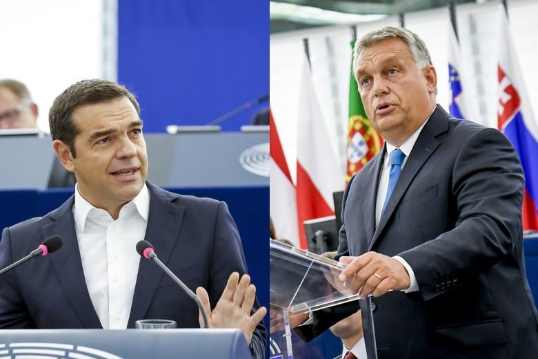 Aléxis Tsípras et Viktor Orbán au Parlement européen, le 11 septembre 2018