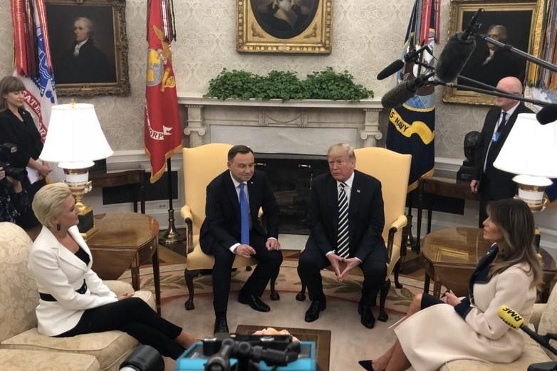 Andrzej Duda, Donald Trump et leurs épouses, à la Maison Blanche, le 18 septembre 2018