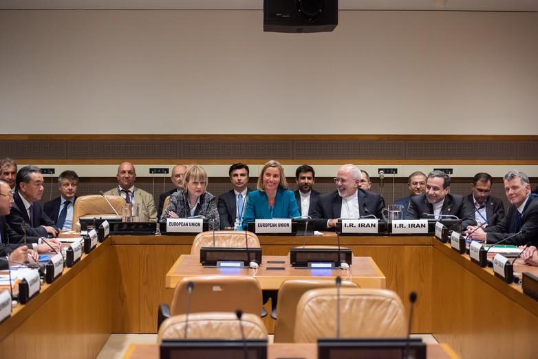 Helga Maria Schmid, Federica Mogherini et Mohammad Javad Zarif, à New York le 24 septembre 2018