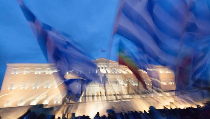 Rassemblement sur la place Syntagma à Athènes en février 2015