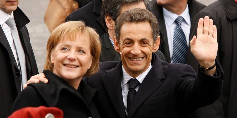 Angela Merkel et Nicolas Sarkozy en 2009 à Paris