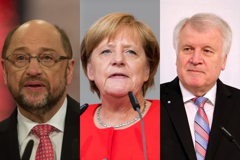 Martin Schulz (SPD), Angela Merkel (CDU) et Horst Seehofer (CSU)