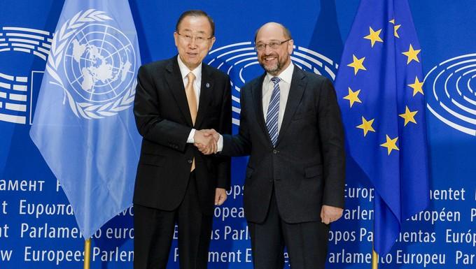 Martin Schulz et Ban Ki-moon, au Parlement européen le 4 octobre 2016