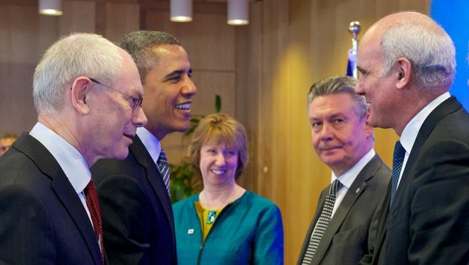 Sommet UE-USA mars 2014 Van Rompuy, Obama, Ashton, De Gucht