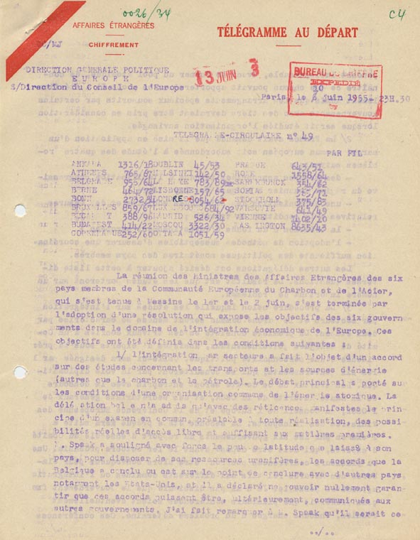 Circulaire. Résultats de la conférence de Messine. 10 juin 1955.