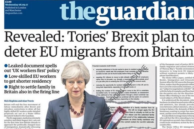 Une du journal The Guardian (Royaume-Uni) du 06/09/2017