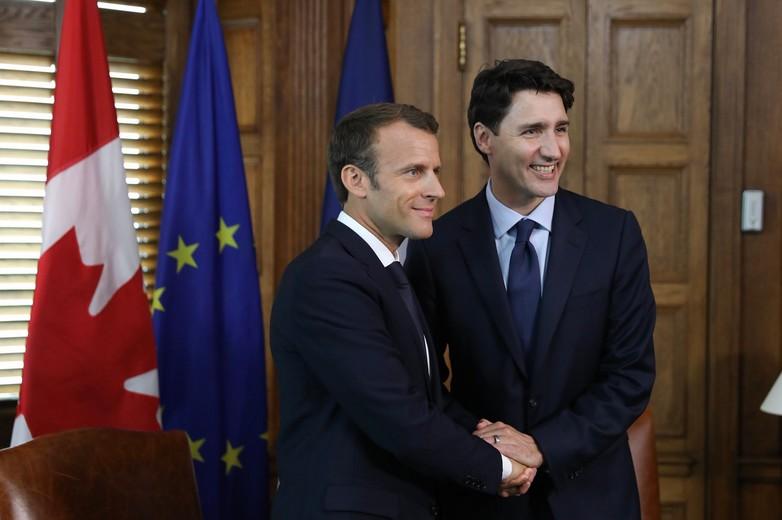 Emmanuel Macron et Justin Trudeau le 6 juin 2018, en amont du G7