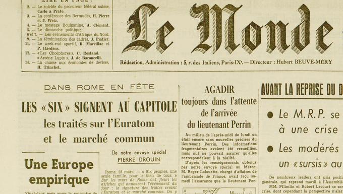 Une du Monde le 26 mars 1957