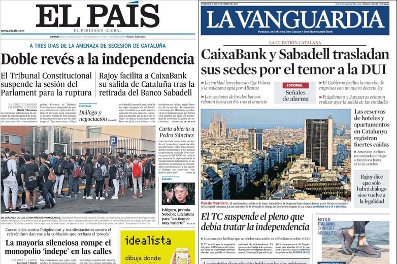Unes de El País et de La Vanguardia