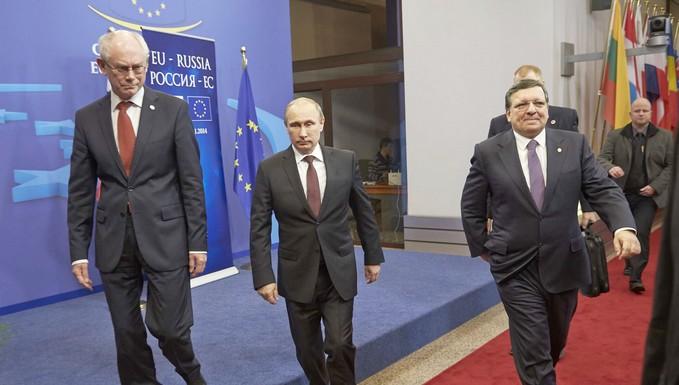 Herman Van Rompuy, Vladimir Poutine et José Manuel Barroso