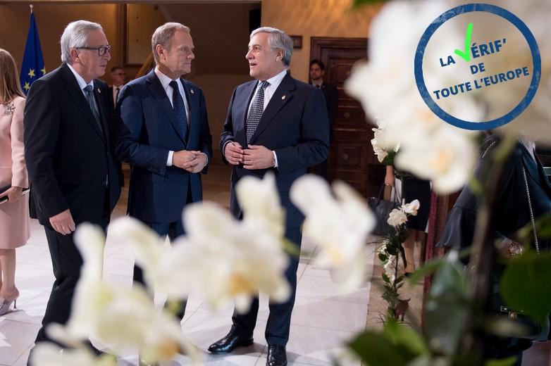 De gauche à droite : Jean-Claude Juncker, Donald Tusk et Antonio Tajani, respectivement présidents de la Commission européenne, du Conseil européen et du Parlement européen