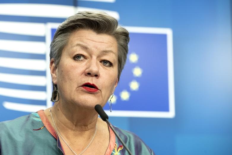 La commissaire européenne aux Affaires intérieures, Ylva Johansson, a appelé à plus de coordination entre les Etats membres dans la levée des contrôles aux frontières - Crédits : Enzon Zucchi / Conseil de l'UE