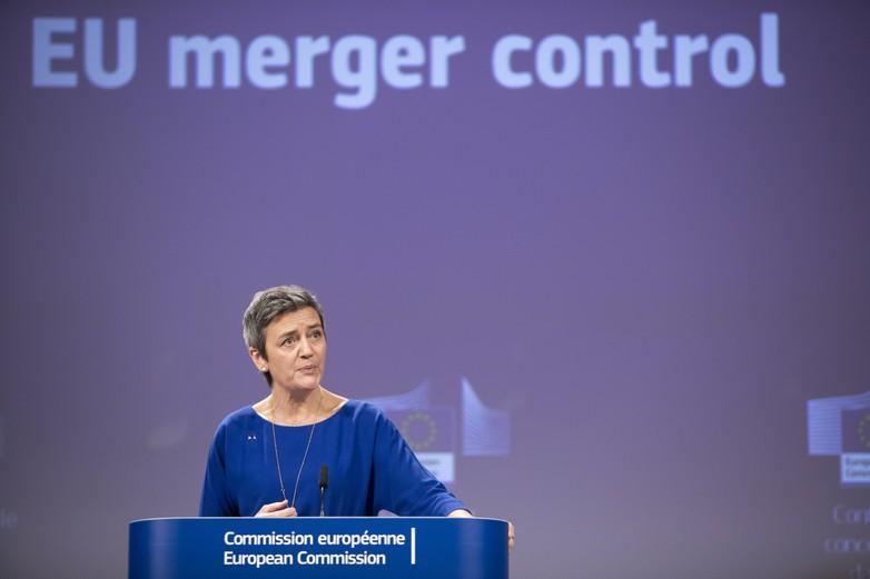 La commissaire Margrethe Vestager, lors de la conférence de presse annonçant le rejet du projet de concentration entre Alstom et Siemens, le 6 février - Crédits : Commission européenne