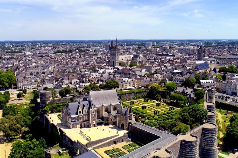Vue aérienne d'Angers, dans le Maine-et-Loire