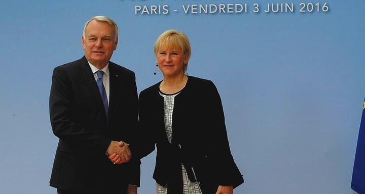 Jean-Marc Ayrault et Margot Wallström, ministre suëdoise des Affaires étrangères
