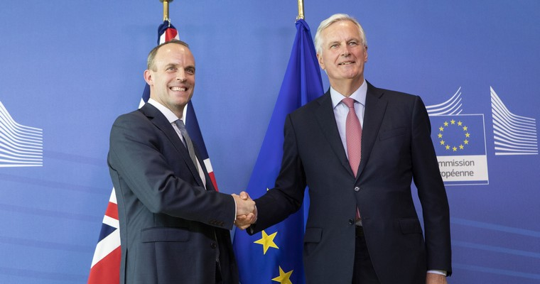 Michel Barnier et Dominic Raab, le 19 juillet 2018