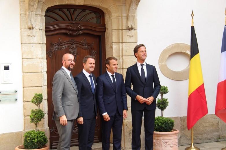 De gauche à droite, Charles Michel, Xavier Bettel, Emmanuel Macron et Mark Rutte