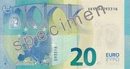 Billet de 20 euros série Europe, verso