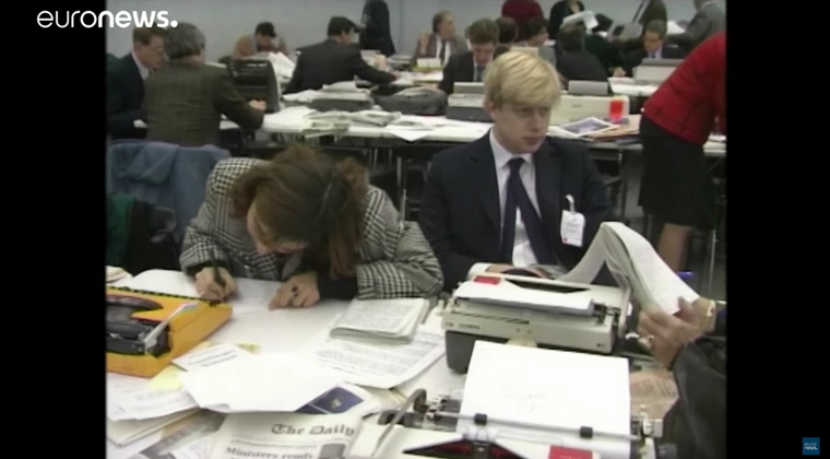 Boris Johnson à Bruxelles alors correspondant pour le Daily Telegraph de 1989 à 1994 - Crédits : Euronews / YouTube