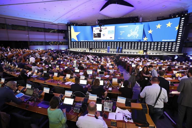 Journalistes au Parlement européen à Bruxelles le 26 mai 2019 - Crédits : Didier Bauweraerts / Parlement européen