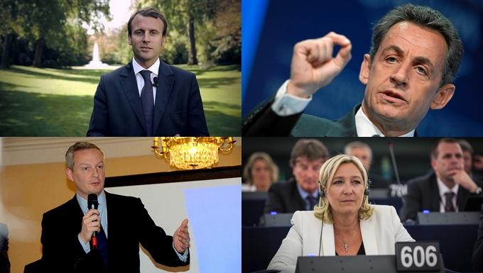 De gauche à droite et de bas en haut : Emmanuel Macron, Nicolas Sarkozy, Bruno Le Maire et Marine Le Pen