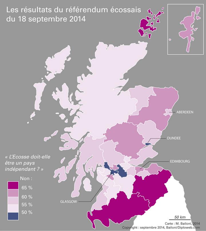 Carte des résultats du référendum écossais