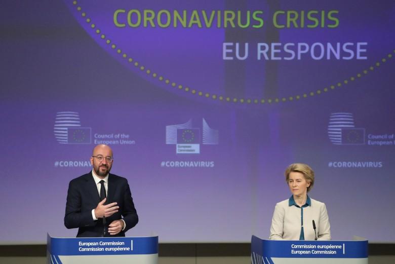 Charles Michel, président du Conseil européen et Ursula von der Leyen, présidente de la Commission européenne, ont présenté aux gouvernements des 27 une feuille de route pour une réponse économique à la crise en amont du sommet européen du 23 avril 2020