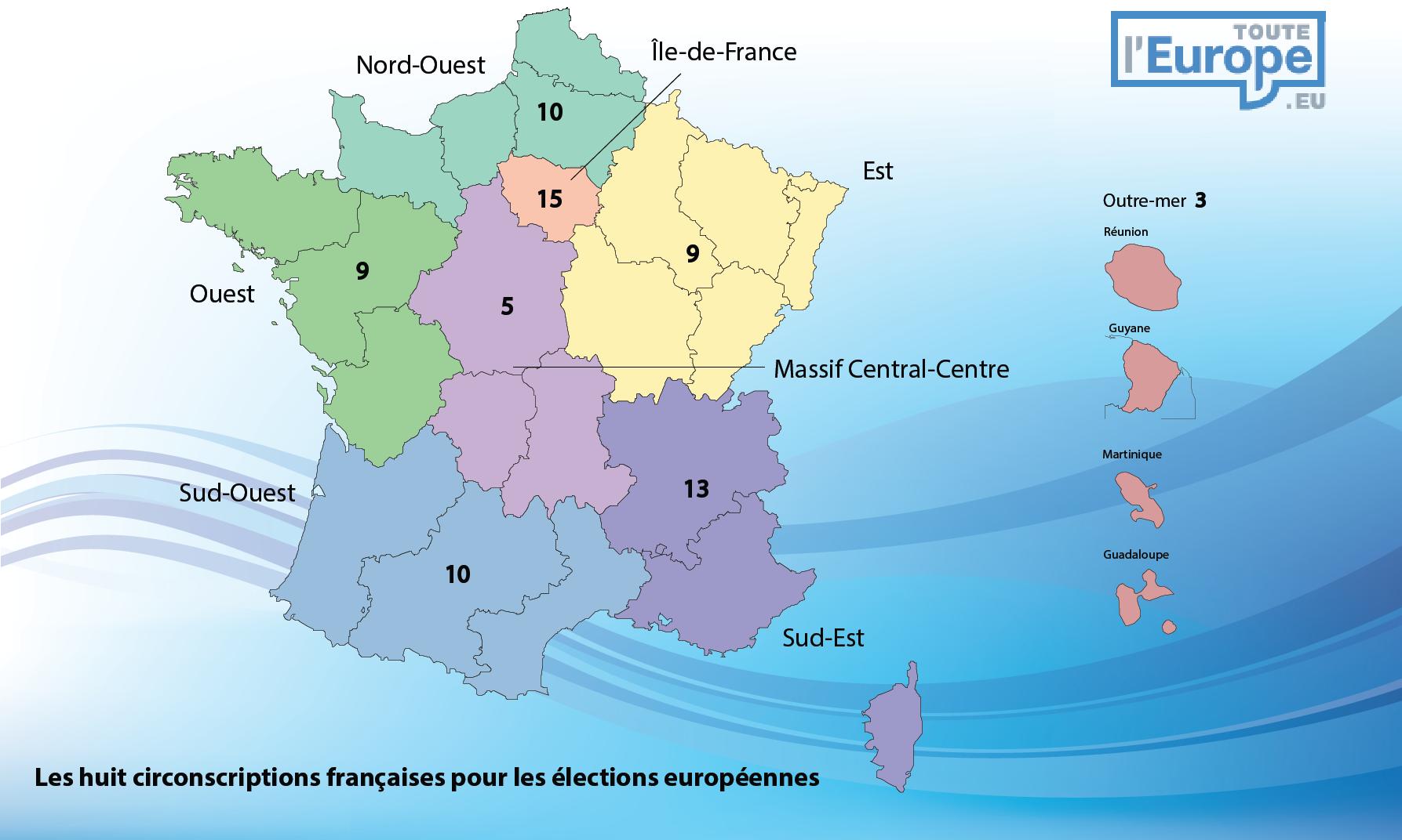 Carte Circonscriptions françaises Elections européennes 2014