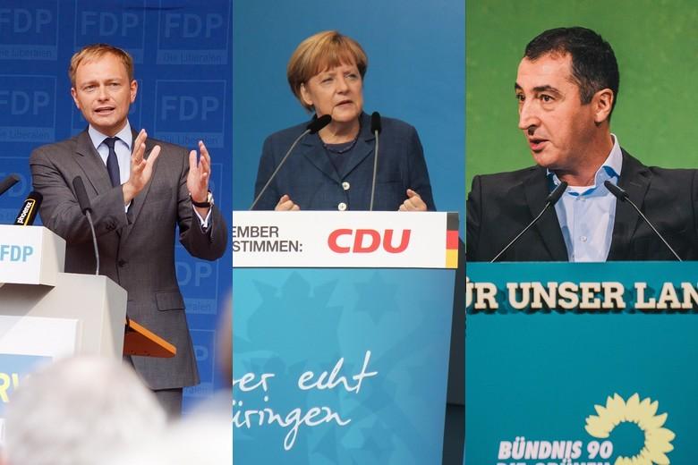 Christian Lindner, Angela Merkel et Cem Özdemir