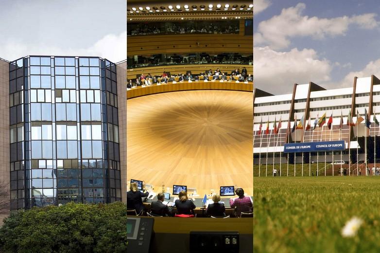 De gauche à droite : bâtiment du Conseil européen et du Conseil de l'UE (Justus Lipsius), réunion du Conseil de l'UE et bâtiment du Conseil de l'Europe (palais de l'Europe)