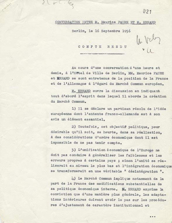 Compte rendu de la conversation tenue entre Maurice Faure et Ludwig Erhard à l'hôtel de ville de Berlin, le 16 septembre 1956. Berlin, 16 septembre 1956.