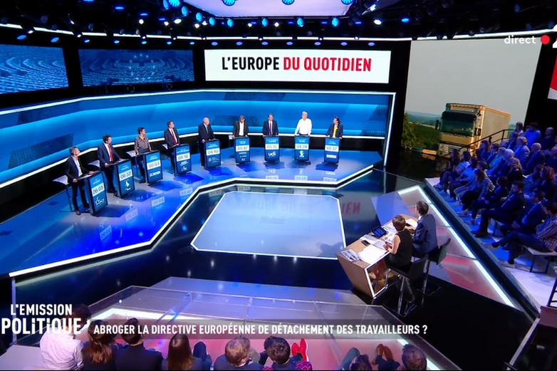 Plateau du débat des têtes de liste ou de leur représentant, diffusé sur France 2, le 22 mai (capture d'écran)