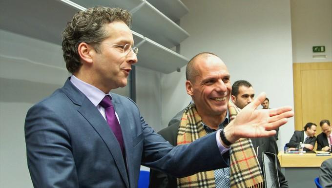 Jeroen Dijsselbloem et Yanis Varoufakis (c) Conseil de l'UE